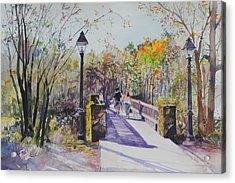 A Stroll On The Bridge Acrylic Print