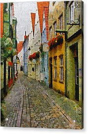 A Stroll Through The Street Acrylic Print