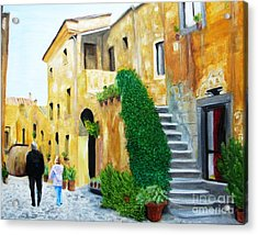 A Stroll With Papa In Italy Acrylic Print by Nathan Rodholm