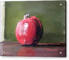 Acrylic Print featuring the pastel A Study Of Pomegranite by Cindy Plutnicki