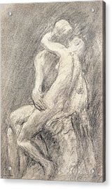 A Study Of Rodin's Kiss In His Studio Acrylic Print by Gwen John