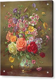 A Summer Floral Arrangement Acrylic Print by Albert Williams