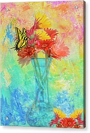 Acrylic Print featuring the digital art A Summer Time Bouquet by Diane Schuster
