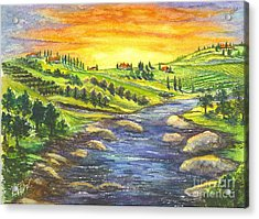 Acrylic Print featuring the painting A Sunset In Wine Country by Carol Wisniewski