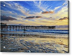 A Surfer Heads Home Under A Cloudy Sunset At Crystal Pier Acrylic Print