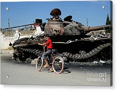 A Syrian Boy On His Bicycle In Front Acrylic Print by Andrew Chittock