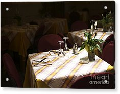 A Table Is Waiting In Sorrento Acrylic Print by John Rizzuto