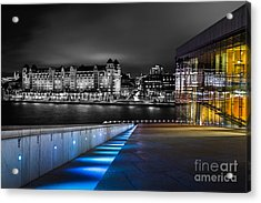 A Tale Of Two Buildings Acrylic Print