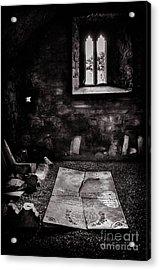Acrylic Print featuring the photograph A Tombstone In Sligo Abbey Bw by RicardMN Photography
