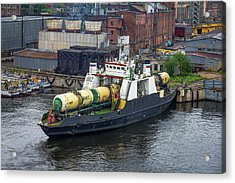 Acrylic Print featuring the photograph A Train Ferry In St Petersburg Carrying Freight by Clare Bambers