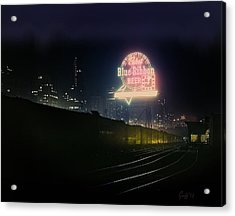 A Train's A Comin' 1948 Acrylic Print by J Griff Griffin