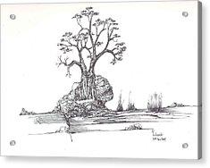 A Tree A Rock And Some Grass Acrylic Print by Padamvir Singh