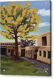 Acrylic Print featuring the painting A Tree Grows In The Courtyard, Palace Of The Governors, Santa Fe, Nm by Erin Fickert-Rowland