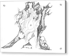 Acrylic Print featuring the drawing A Tree Human Forms And Some Rocks by Padamvir Singh