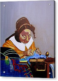 A Tribute To Vermeer  The Lacemaker Acrylic Print