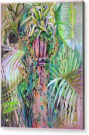 A Tropical Basket On A Post Acrylic Print by Mindy Newman