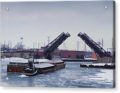 A Tug Boat Pushing A Barge Out To The Lake Acrylic Print