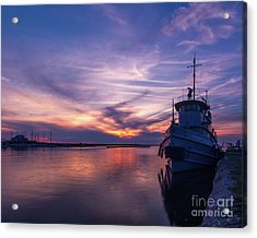 A Tugboat Sunset Acrylic Print