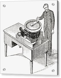A Typewriter Of 1836. From The Strand Acrylic Print by Vintage Design Pics