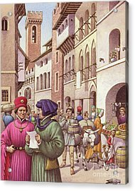 A Typical Street Scene In Florence In The Early 15th Century  Acrylic Print