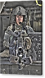A Uh-60 Black Hawk Door Gunner Manning Acrylic Print by Terry Moore