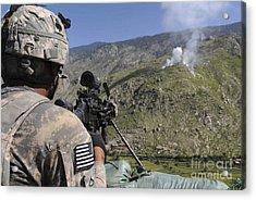 A U.s. Army Grenadier Scans A Nearby Acrylic Print