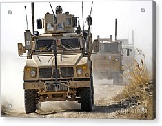 A U.s. Army M-atv Leads A Convoy Acrylic Print by Stocktrek Images