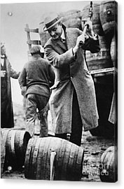 A Us Federal Agent Broaching A Beer Barrel From An Illegal Cargo During The American Prohibition Era Acrylic Print by American School