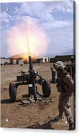 A U.s. Marine Corps Gunner Fires Acrylic Print by Stocktrek Images