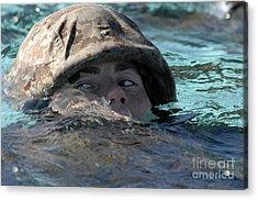 A U.s. Marine Swims Across A Training Acrylic Print by Stocktrek Images