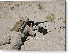 A U.s. Marine Zeros His M107 Sniper Acrylic Print by Stocktrek Images