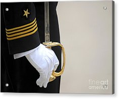 A U.s. Naval Academy Midshipman Stands Acrylic Print by Stocktrek Images