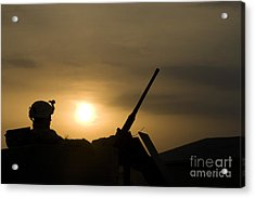 A Us Soldier Mans His .50 Caliber While Acrylic Print by Terry Moore