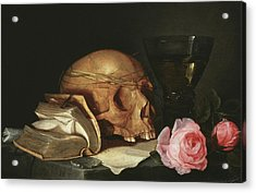 A Vanitas Still Life With A Skull, A Book And Roses Acrylic Print by Jan Davidsz de Heem