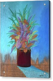 A Vase Of Flowers Acrylic Print by Harvey Rogosin