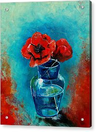 A Vase With Poppies  Acrylic Print by Veronique Radelet