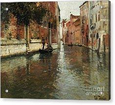A Venetian Backwater  Acrylic Print by Fritz Thaulow