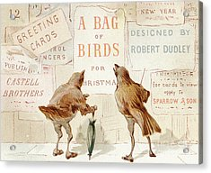 A Victorian Christmas Card Of Two Birds Looking At A Poster Of A Bag Of Birds For Christmas Acrylic Print
