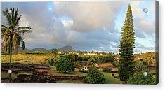 A View Of Prince Kuhio Park Acrylic Print by Bonnie Follett
