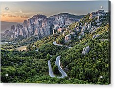 A View Of The Meteora Valley In Greece Acrylic Print