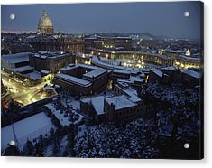 A View Of Vatican City In The Snow.  It Acrylic Print by James L. Stanfield