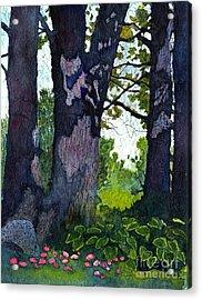 A View Through The Trees Watercolor Batik Acrylic Print