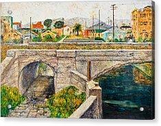 A Walk Along The Canal By Victor Herman Acrylic Print by Joni Herman