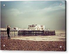 A Walk By The Pier Acrylic Print by David Warrington
