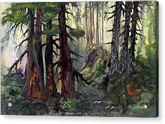 Acrylic Print featuring the painting A Walk In The Woods by Sherry Shipley