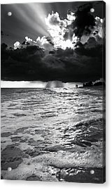 A Walk On The Beach In Black And White Acrylic Print by Greg Mimbs