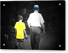A Walk With Grandpa Acrylic Print by Cathy  Beharriell