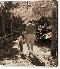 A Walk With Papa Acrylic Print by Laurianne Nash