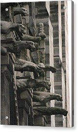 Acrylic Print featuring the photograph A Wall Of Gargoyles Notre Dame Cathedral by Christopher Kirby