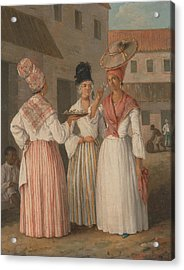 A West Indian Flower Girl And Two Other Free Women Of Color Acrylic Print by Agostino Brunias